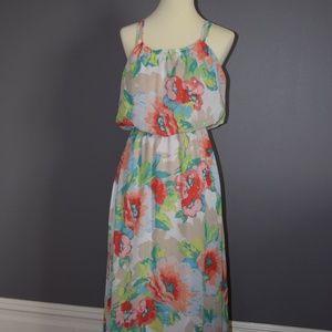 Floral cinched-waist Dress